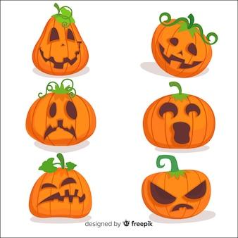 Verzameling van halloween pompoenen in plat ontwerp