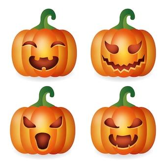 Verzameling van halloween-pompoenen met verschillende uitdrukkingen