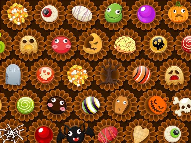 Verzameling van halloween snoep zoete vector