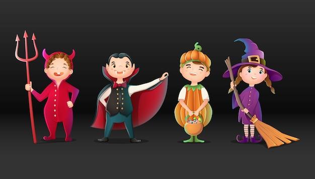 Verzameling van halloween-stripfiguren, duivel, heks, pompoen en dracula.