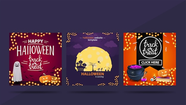 Verzameling van halloween vierkante sociale media post met halloween-elementen