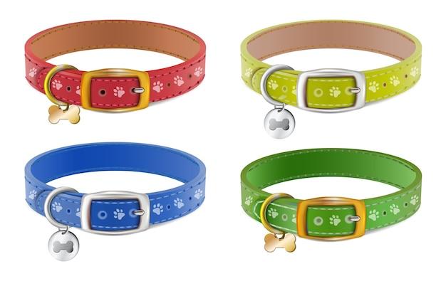 Verzameling van halsbanden voor honden of katten op wit wordt geïsoleerd