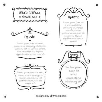 Verzameling van hand citaten met frame Gratis Vector
