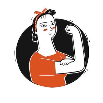 Verzameling van hand getekend een vrouw doet een sterke post met een zwarte cirkel.vectorillustraties in schets doodle stijl.