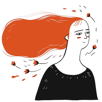 Verzameling van hand getekend een vrouw met overvloedig lang haar.vectorillustraties in schets doodle stijl.
