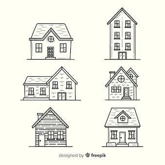 Verzameling van hand getekende huizen
