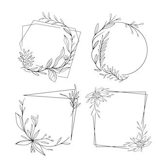 Verzameling van hand getrokken bloemenframes
