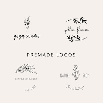 Verzameling van hand getrokken botanische logo