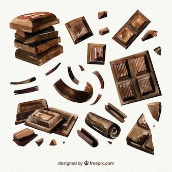 Verzameling van hand getrokken chocoladerepen