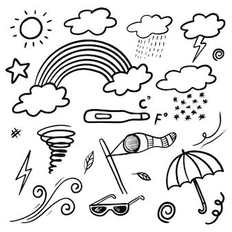 Verzameling van hand getrokken doodle weerpictogrammen geïsoleerd op een witte achtergrond