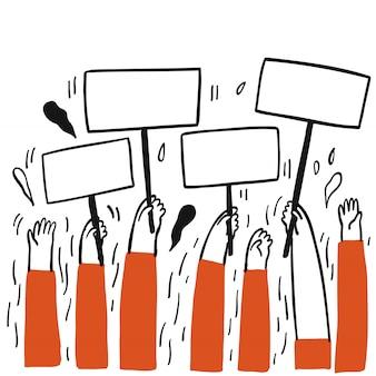 Verzameling van hand getrokken een groep mensen die een leeg etiket houden wachtend op iemand om het in te vullen.vectorillustraties in schets doodle stijl.