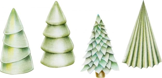 Verzameling van hand getrokken geïsoleerde kerstbomen