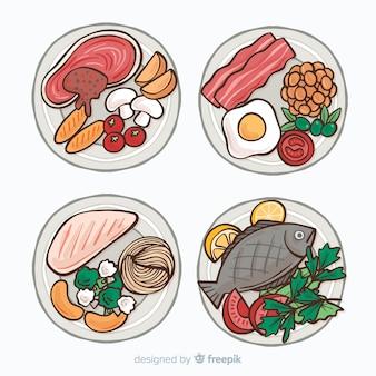Verzameling van hand getrokken gerechten gerechten