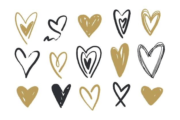 Verzameling van hand getrokken harten