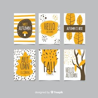 Verzameling van hand getrokken herfst kaarten