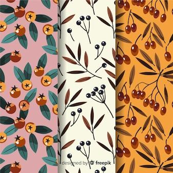 Verzameling van hand getrokken herfst patronen