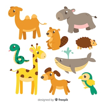Verzameling van hand getrokken schattige dieren