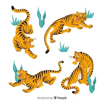 Verzameling van hand getrokken tijgers
