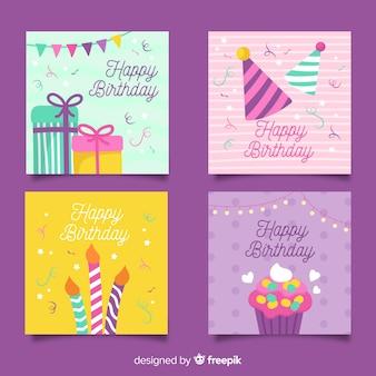 Verzameling van hand getrokken verjaardagskaarten