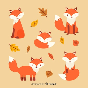 Verzameling van hand getrokken vossen