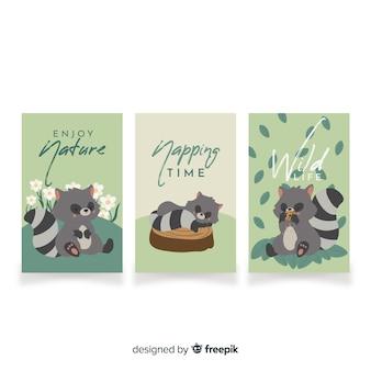 Verzameling van hand getrokken wasbeer kaarten