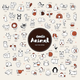 Verzameling van hand tekenen dierlijke pictogramstijl doodle.