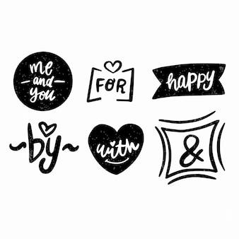 Verzameling van handgeschreven ampersands en steekwoorden