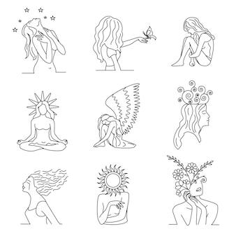 Verzameling van handgetekende abstracte vrouwen kunst