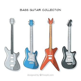 Verzameling van handgetekende basgitaren