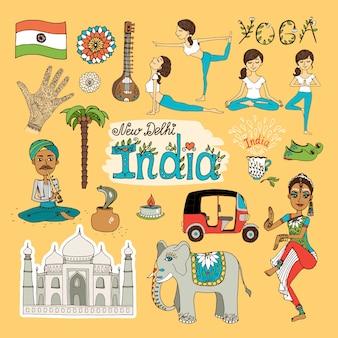 Verzameling van handgetekende bezienswaardigheden van india