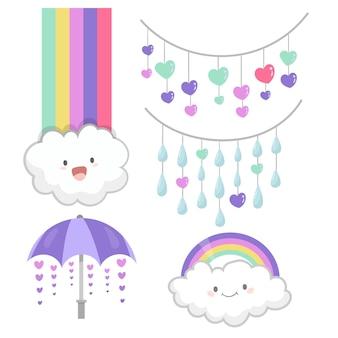 Verzameling van handgetekende chuva de amor decoratie-elementen