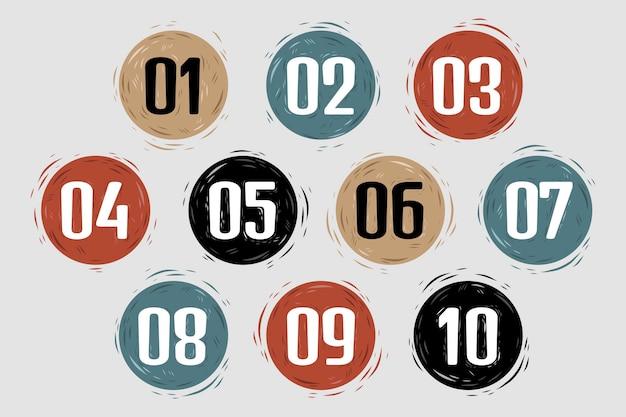 Verzameling van handgetekende cirkelvormige opsommingstekens nummers van één tot tien