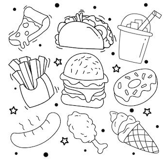 Verzameling van handgetekende elementen fastfood