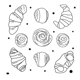 Verzameling van handgetekende elementen voor bakkerij