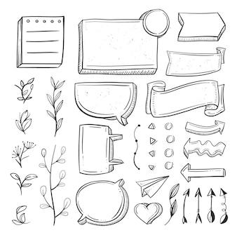 Verzameling van handgetekende elementen voor bullet journals