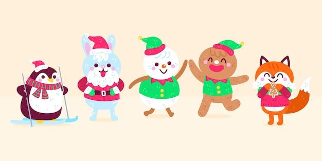 Verzameling van handgetekende kerstkarakters