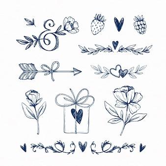 Verzameling van handgetekende liefdeselementen