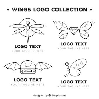 Verzameling van handgetekende logo's met vleugels