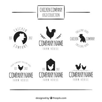 Verzameling van handgetekende logo's van kippenbedrijf