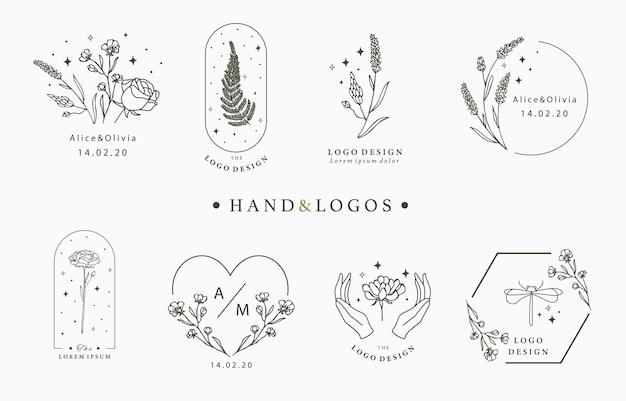 Verzameling van handgetekende logo's