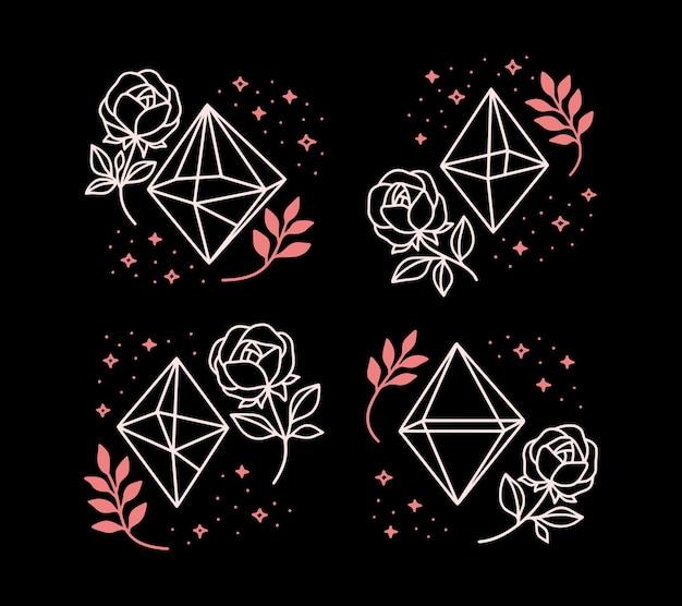 Verzameling van handgetekende magische elementen met kristal, bloem, sterren en bladtak