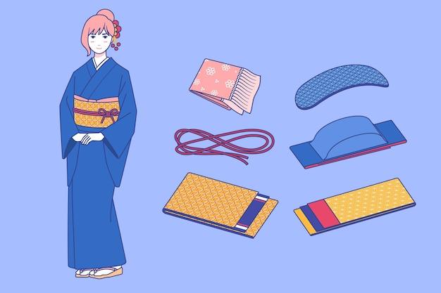 Verzameling van handgetekende obi-bandelementen
