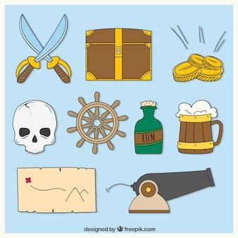 Verzameling van handgetekende piraat accessoires
