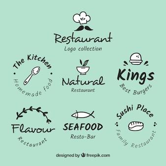 Verzameling van handgetekende restaurantlogo's
