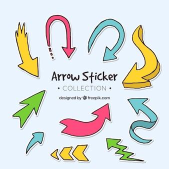 Verzameling van handgetekende stickers