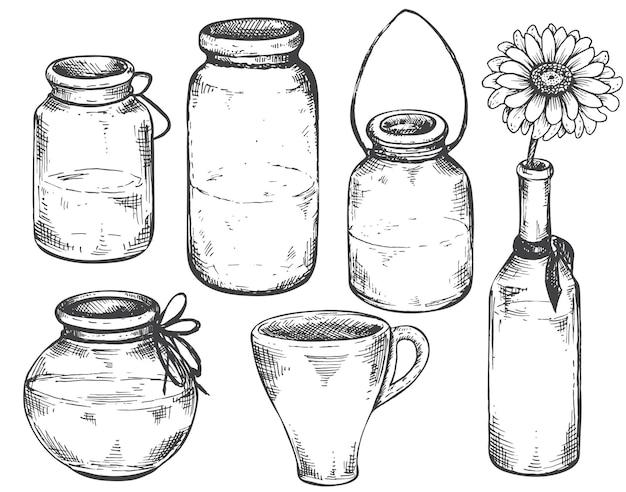 Verzameling van handgetekende vazen en potten.