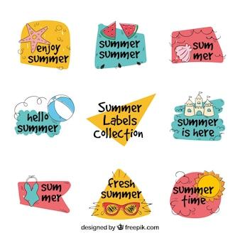 Verzameling van handgetekende zomer stickers
