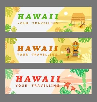 Verzameling van hawaiiaanse banners. reizen, palmen, vrouw, gitaar, bloem