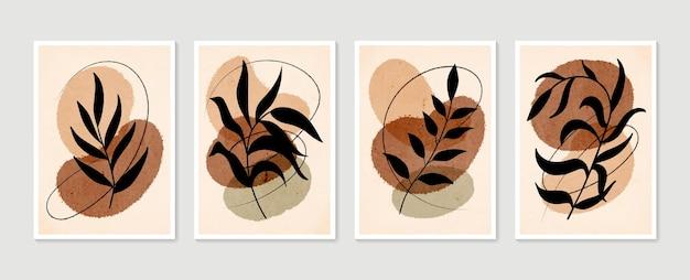 Verzameling van hedendaagse posters. botanische wandset. minimale en natuurlijke kunst aan de muur.