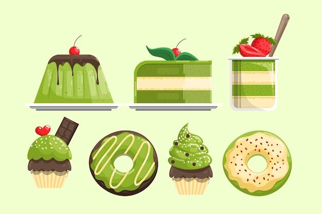 Verzameling van heerlijke matcha desserts